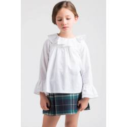 BLUSÓN BLANCO OXFORD CUELLO MONTADO KIDS CHOCOLATE