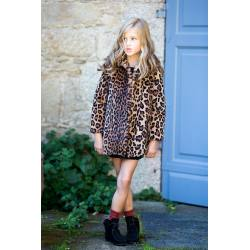 ABRIGO LEOPARDO KIDS CHOCOLATE
